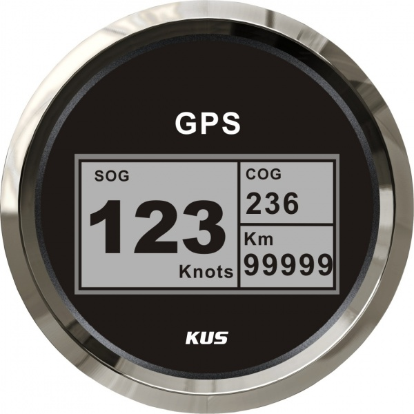 KUS - digitale GPS-Anzeige für Geschwindigkeit, Wegstrecke, inkl. Kompass, schwarzes Display, Edelst