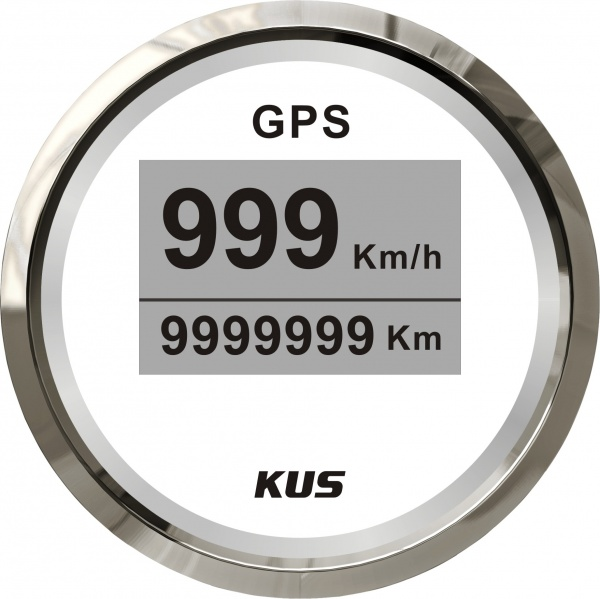KUS - digitale GPS-Anzeige für Geschwindigkeit, Wegstrecke, weisses Display, Edelstahl-Lünette