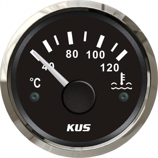 KUS - Temperaturanzeige Kühlwasser, schwarzes Display mit Edelstahl-Lünette