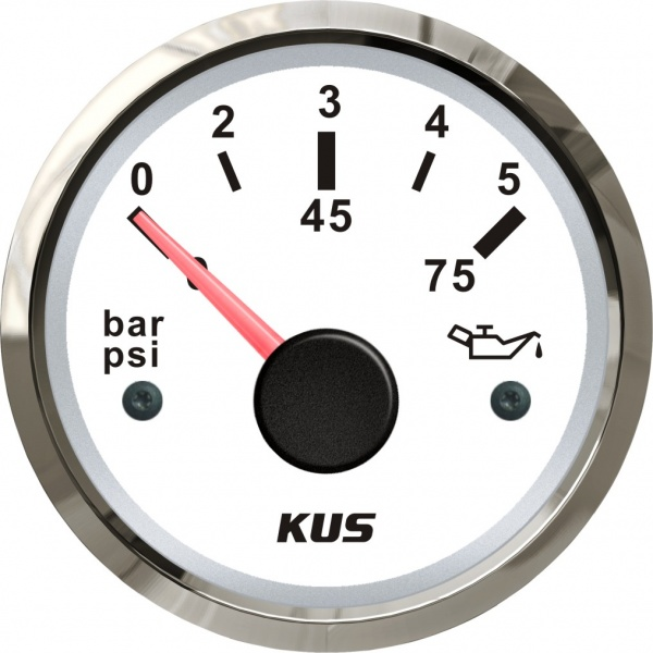 KUS - Öldruckanzeige, weisses Display mit Edelstahl-Lünette, 10-184Ω, 0-5bar