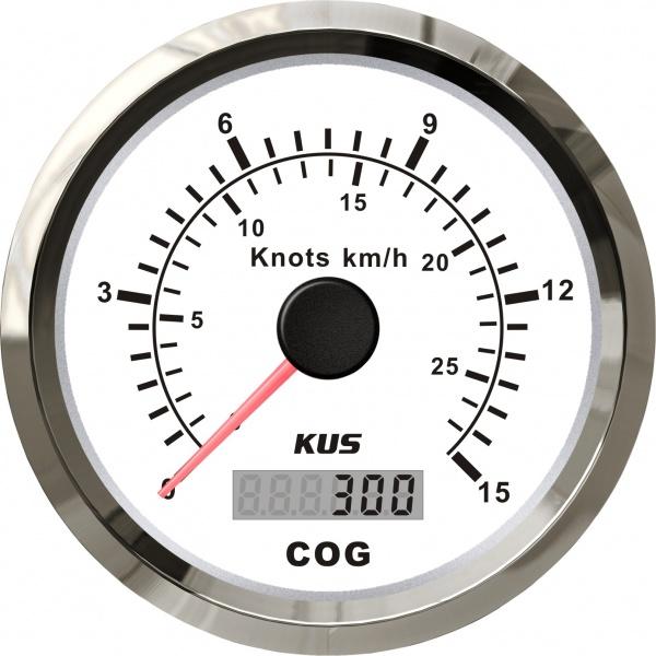 KUS - GPS-Anzeige für Geschwindigkeit mit Kompass bis 15Knoten / 28km/h, weisses Display, Edelstahl-