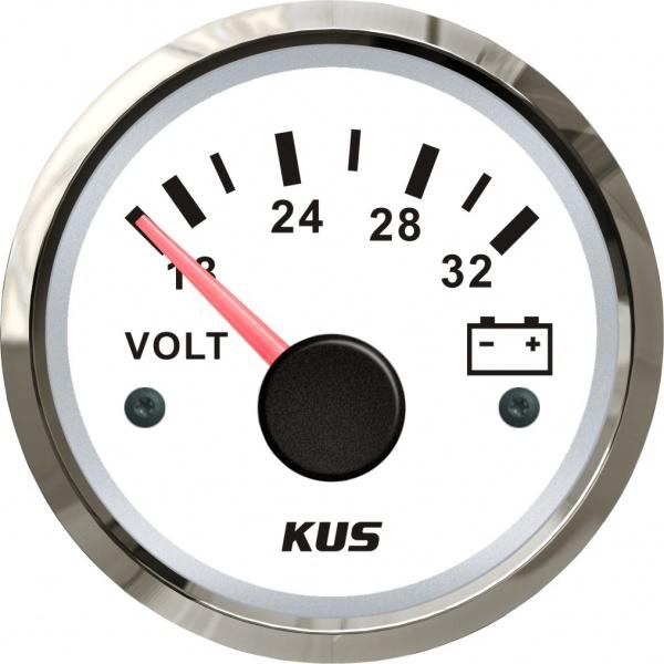 KUS - Voltmeter, weisses Display mit Edelstahl-Lünette, 18 - 32 Volt
