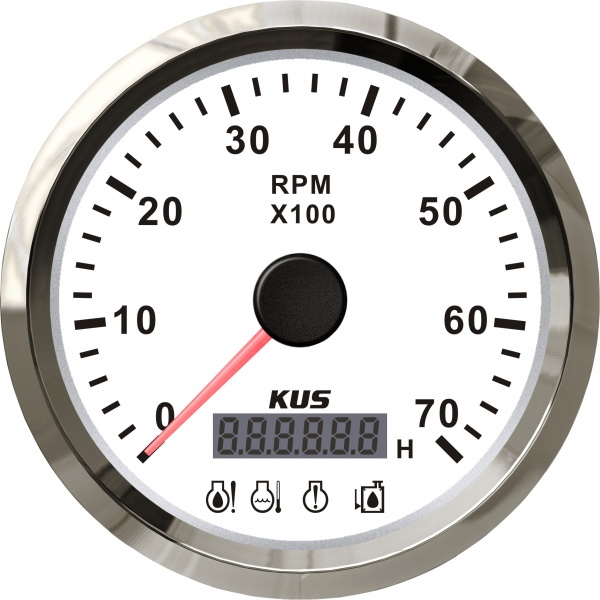 KUS - Drehzahlmesser mit digitalem Betriebsstundenzähler 7000RPM für Aussenborder, weisses Display m
