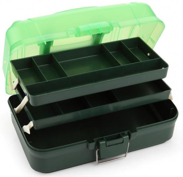 Angelbox / Angelkoffer, 2-ladiger Gerätekoffer (34 x 20 x 17 cm), dunkelgrün / hellgrün