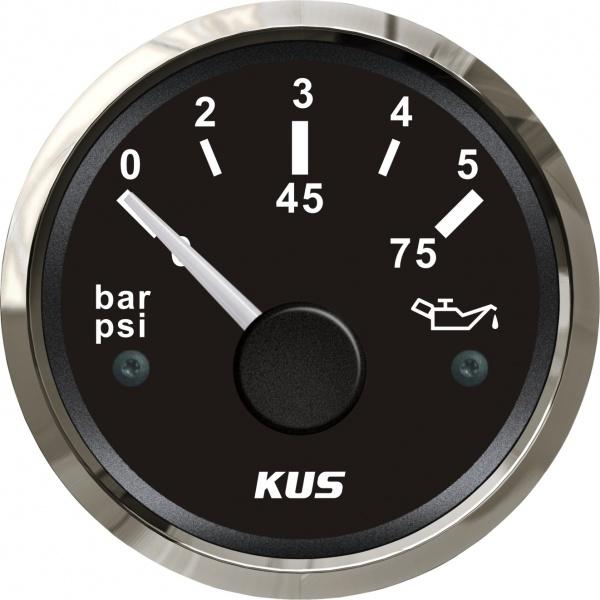 KUS - Öldruckanzeige, schwarzes Display mit Edelstahl-Lünette, 10-184Ω, 0-5bar