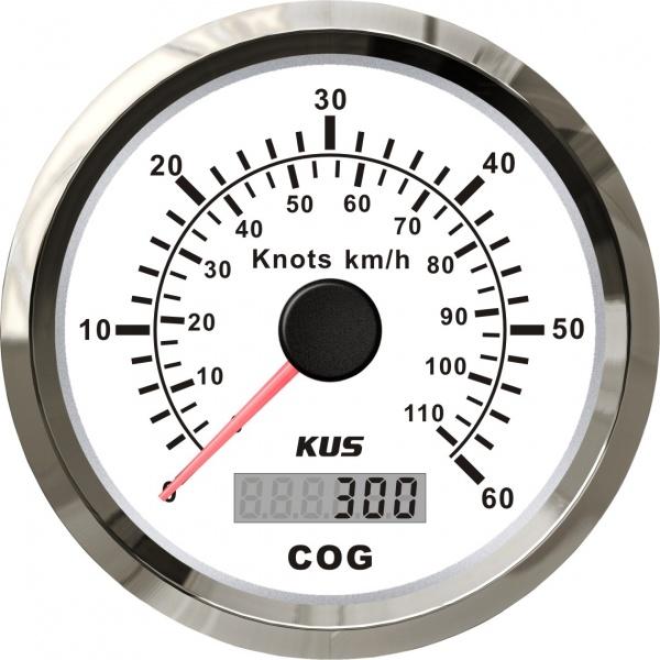 KUS - GPS-Anzeige für Geschwindigkeit mit Kompass bis 60Knoten / 110km/h, weisses Display, Edelstahl