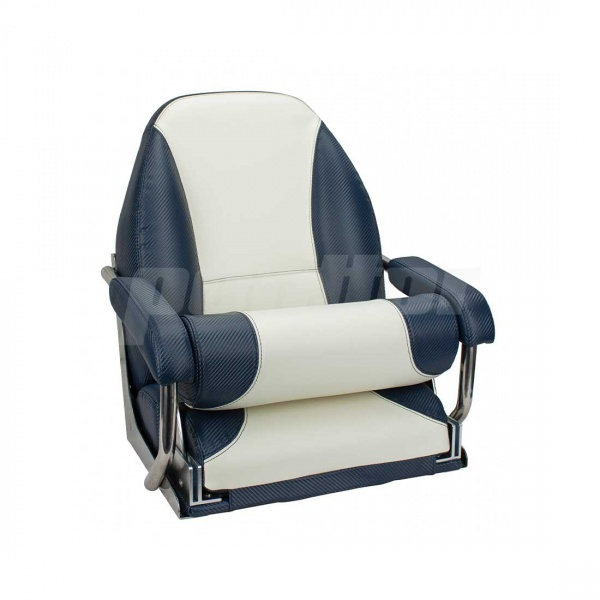 """Bootssitz """"BOSTALSEE"""", Flip-Up-Funktion, blau carbon und weiß"""
