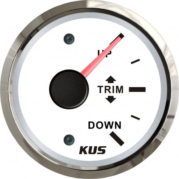 KUS - Trim Anzeige, weisses Display mit Edelstahl-Lünette, 0-190Ω
