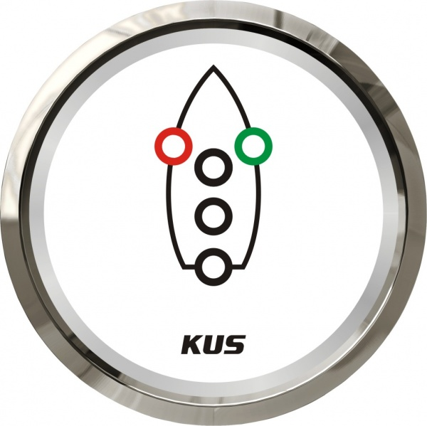 KUS - Navigationslichter Kontrollanzeige, weisses Display mit Edelstahl-Lünette