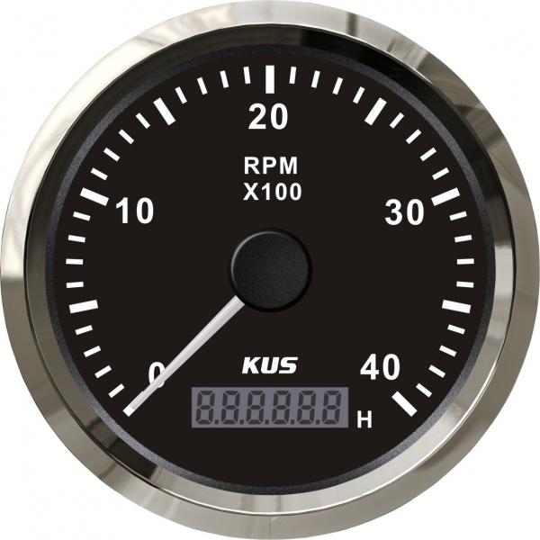 KUS - Drehzahlmesser mit digitalem Betriebsstundenzähler 4000RPM, schwarzes Display mit Edelstahl-Lü
