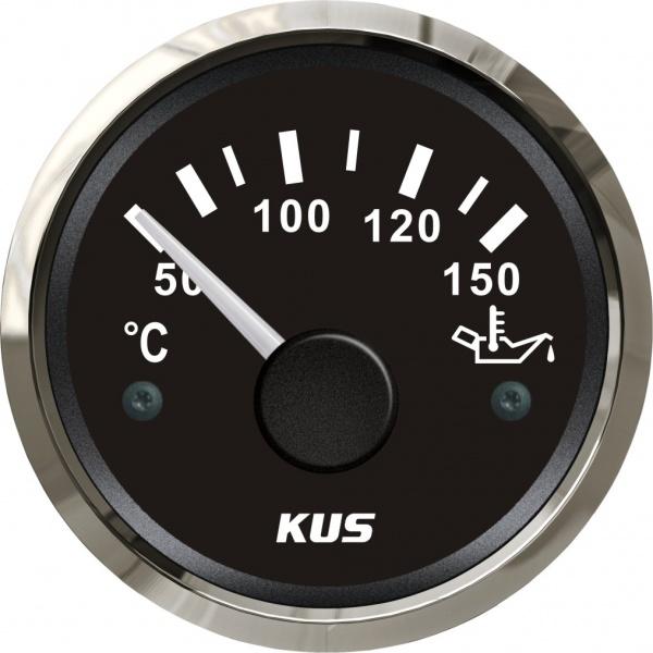 KUS - Temperaturanzeige für Motor- und Getrieböl, schwarzes Display mit Edelstahl-Lünette