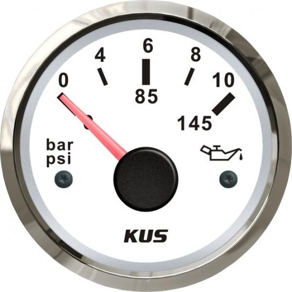 KUS - Öldruckanzeige, weisses Display mit Edelstahl-Lünette, 10-184Ω, 0 -10 bar