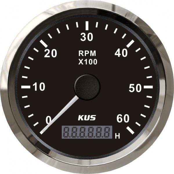 KUS - Drehzahlmesser mit digitalem Betriebsstundenzähler 6000MRP, schwarzes Display mit Edelstahl-Lü