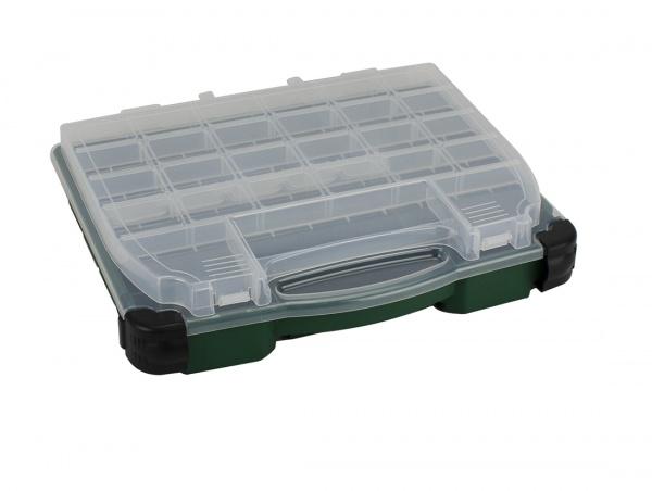 Angelbox / Angelkoffer, Doppelklappbox (37 x 30 x 9 cm), grün / transparent