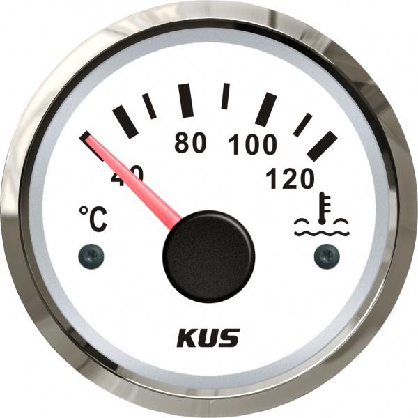 KUS - Temperaturanzeige Kühlwasser, weisses Display mit Edelstahl-Lünette