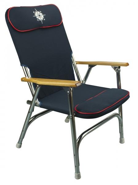 2 x klappbare Deckstühle mit hoher Rückenlehne, dunkelblau