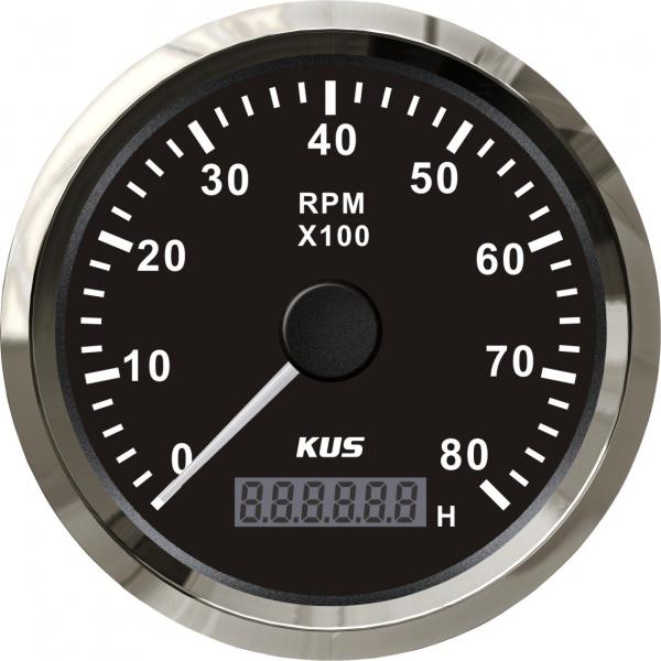 KUS - Drehzahlmesser mit digitalem Betriebsstundenzähler 8000RPM, schwarzes Display mit Edelstahl-Lü
