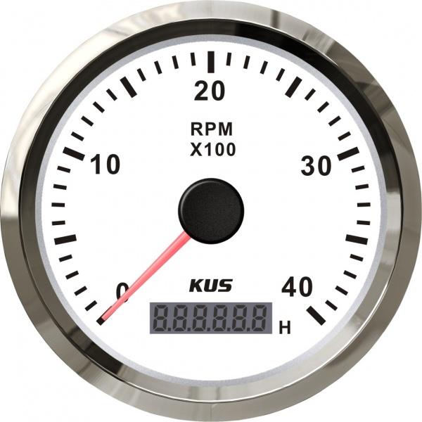 KUS - Drehzahlmesser mit digitalem Betriebsstundenzähler 4000RPM, weisses Display mit Edelstahl-Lüne