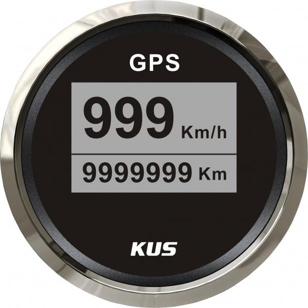 KUS - digitale GPS-Anzeige für Geschwindigkeit, Wegstrecke, schwarzes Display, Edelstahl-Lünette