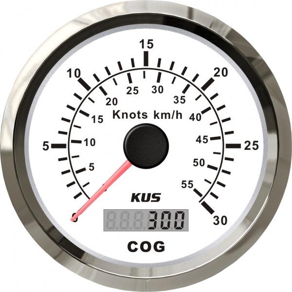 KUS - GPS-Anzeige für Geschwindigkeit mit Kompass bis 30Knoten / 55km/h, weisses Display, Edelstahl-