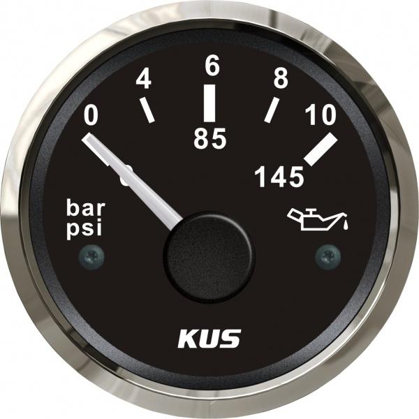 KUS - Öldruckanzeige, schwarzes Display mit Edelstahl-Lünette, 10-184Ω, 0 -10 bar