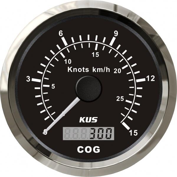 KUS - GPS-Anzeige für Geschwindigkeit mit Kompass bis 15Knoten / 28km/h, schwarzes Display, Edelstah