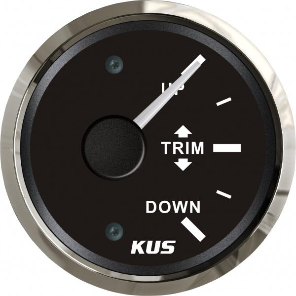 KUS - Trim Anzeige, schwarzes Display mit Edelstahl-Lünette, 0-190Ω