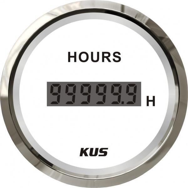 KUS - digitaler Stundenzähler, weisses Display mit Edelstahl-Lünette