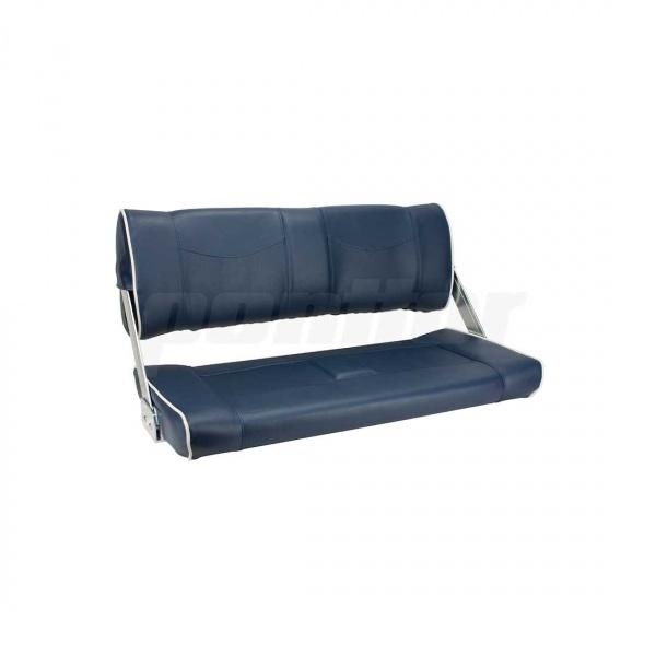 """Flip-Back-Sitzbank """"STARNBERGER SEE"""", blau mit cremeweisser Biese, schwenkbare Rückenlehne"""