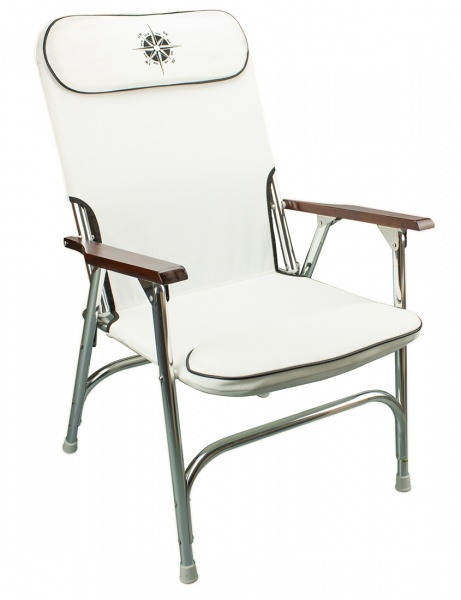 2 x klappbare Deckstühle mit hoher Rückenlehne, weiss