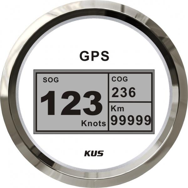 KUS - digitale GPS-Anzeige für Geschwindigkeit, Wegstrecke, inkl. Kompass, weisses Display, Edelstah