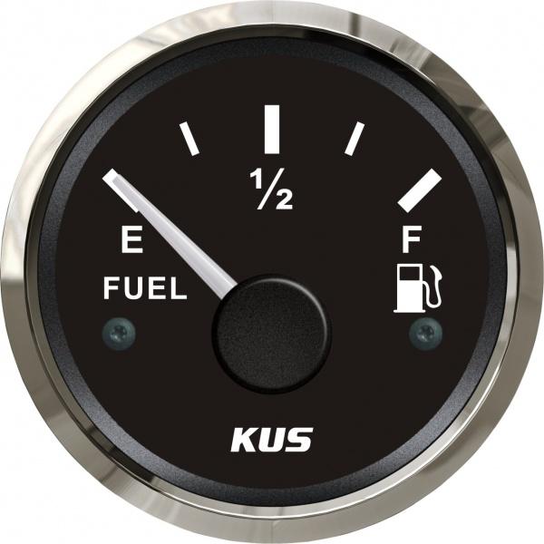 KUS - Tankanzeige, schwarzes Display mit Edelstahl-Lünette, 240-33Ω