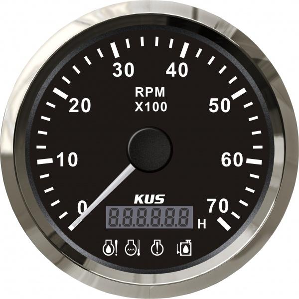 KUS - Drehzahlmesser mit digitalem Betriebsstundenzähler 7000RPM für Aussenborder, schwarzes Display