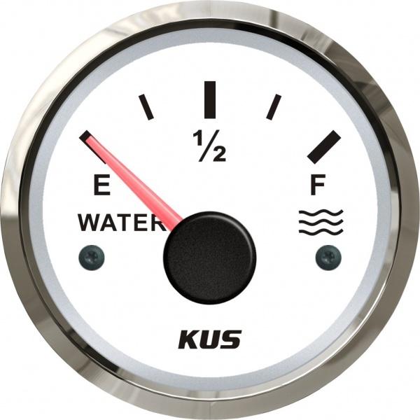 KUS - Tankanzeige für Wasser, weisses Display mit Edelstahl-Lünette, 0-190Ω
