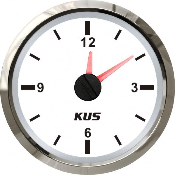 KUS - Quarz Uhr, weisses Display mit Edelstahl-Lünette