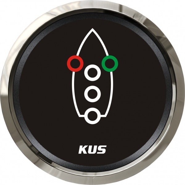 KUS - Navigationslichter Kontrollanzeige, schwarzes Display mit Edelstahl-Lünette