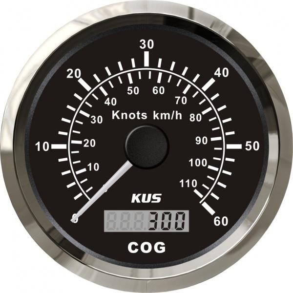 KUS - GPS-Anzeige für Geschwindigkeit mit Kompass bis 60Knoten / 110km/h, schwarzes Display, Edelsta