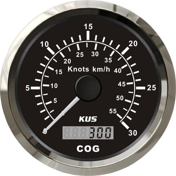 KUS - GPS-Anzeige für Geschwindigkeit mit Kompass bis 30Knoten / 55km/h, schwarzes Display, Edelstah