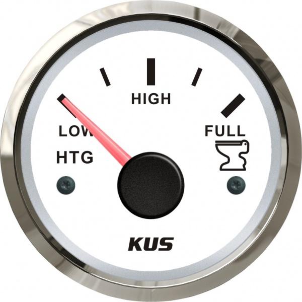 KUS - Tankanzeige Fäkalien Abwasser, weisses Display mit Edelstahl-Lünette, 0-190Ω