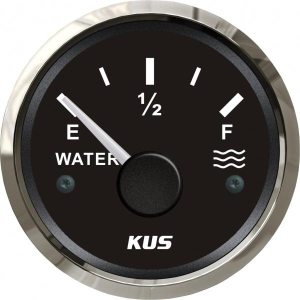 KUS - Tankanzeige für Wasser, schwarzes Display mit Edelstahl-Lünette, 0-190Ω
