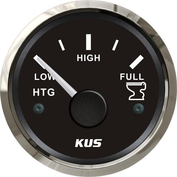 KUS - Tankanzeige Fäkalien Abwasser, schwarzes Display mit Edelstahl-Lünette, 0-190Ω