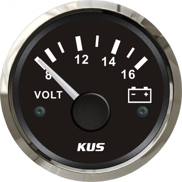 KUS - Voltmeter, schwarzes Display mit Edelstahl-Lünette, 8 - 16 Volt