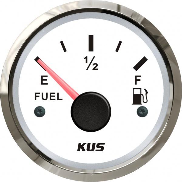 KUS - Tankanzeige, weisses Display mit Edelstahl-Lünette, 240-33Ω