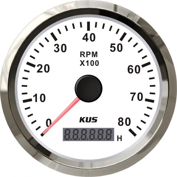 KUS - Drehzahlmesser mit digitalem Betriebsstundenzähler 8000RPM, weisses Display mit Edelstahl-Lüne